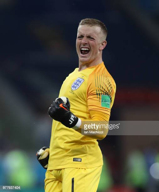 England goalkeeper Jordan Pickford celebrates his team's opening goal during the 2018 FIFA World Cup Russia group G match between Tunisia and England...