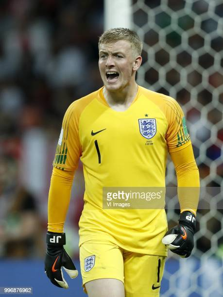 England goalkeeper Jordan Pickford during the 2018 FIFA World Cup Russia Semi Final match between Croatia and England at the Luzhniki Stadium on July...