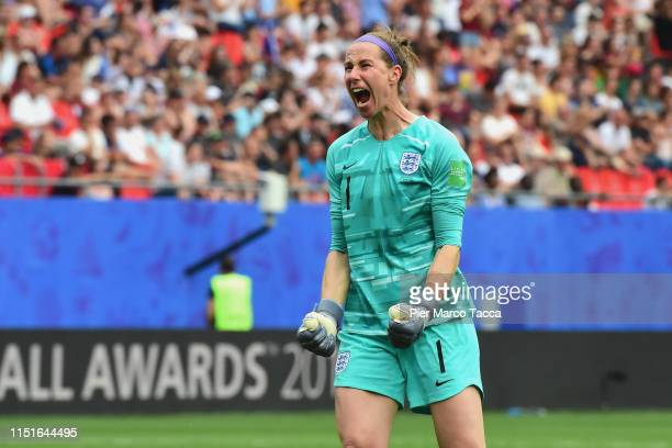England goalkeeper Karen Bardsley celebrates during the 2019 FIFA Women's World Cup France Round Of 16 match between England and Cameroon at Stade du...