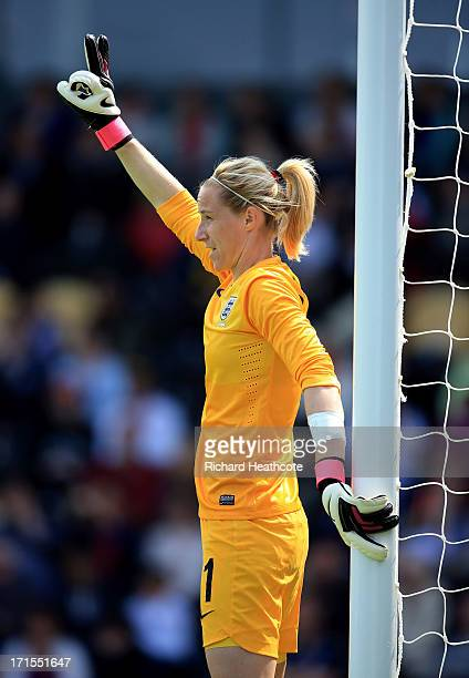 England goalkeeper Karen Bardsley in action during the Women's International match between England and Japan at the Pirelli Stadium on June 26 2013...