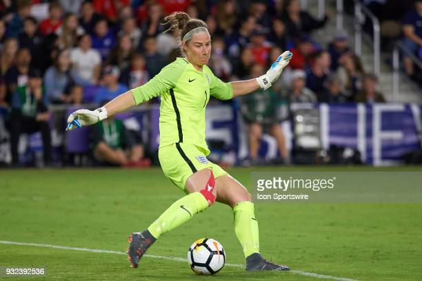 England goalkeeper Karen Bardsley kicks the ball during the SheBelieves Cup match between USA and England on March 07 at Orlando City Stadium in...