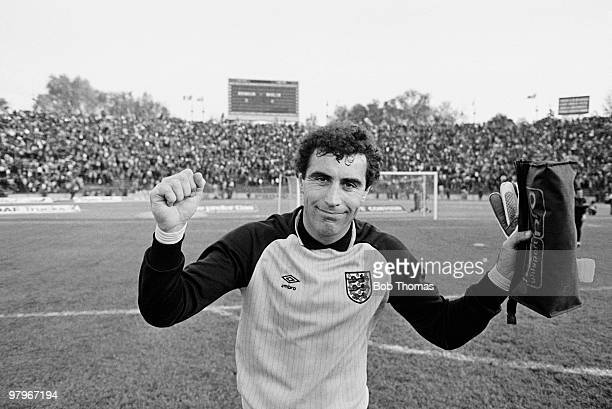 England goalkeeper Peter Shilton celebrates after the Romania v England World Cup Qualifying match played in Bucharest Romania on the 1st May 1985...