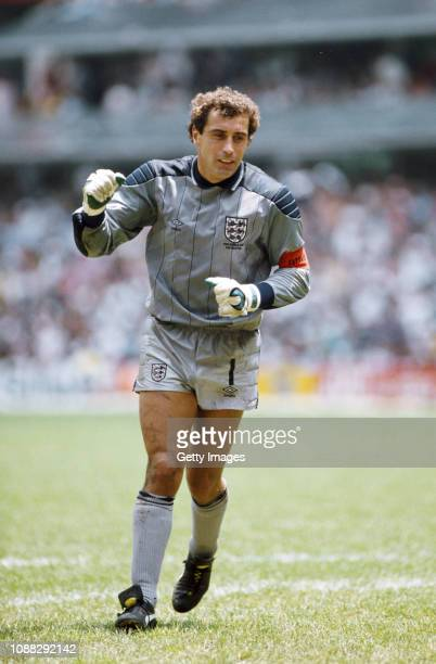 England goalkeeper Peter Shilton celebrates England's goal during the FIFA 1986 World Cup quarter-finals defeat by Argentina in the Azteca stadium on...