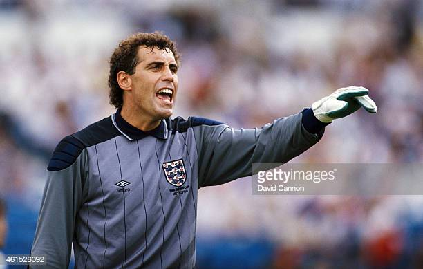 England goalkeeper Peter Shilton in action during the FIFA 1986 World Cup match between Portugal and England on June 3 1986 in Monterrey Mexico