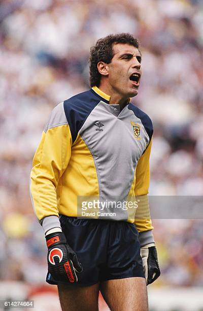 England goalkeeper Peter Shilton issues instructions to his defence whilst wearing a Scotland goalkeepeing jersey during a Rous Cup match between...