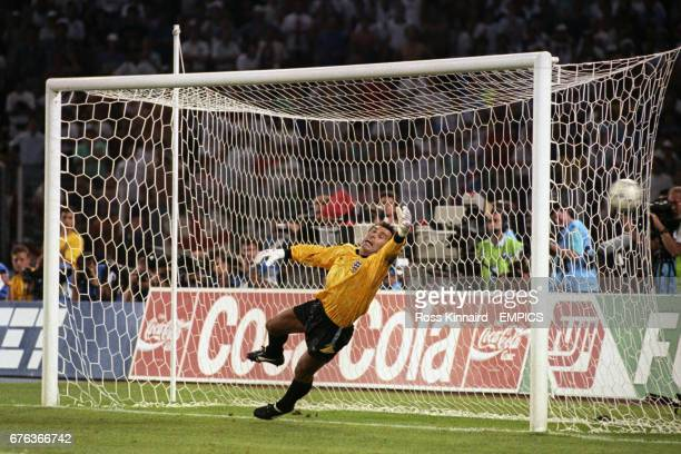 England goalkeeper Peter Shilton just fails to save a penalty during the shootout