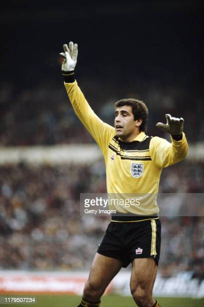 England goalkeeper Peter Shilton organises his defence wearing a Yellow and Black Admiral kit during an International match circa 1982 in London,...