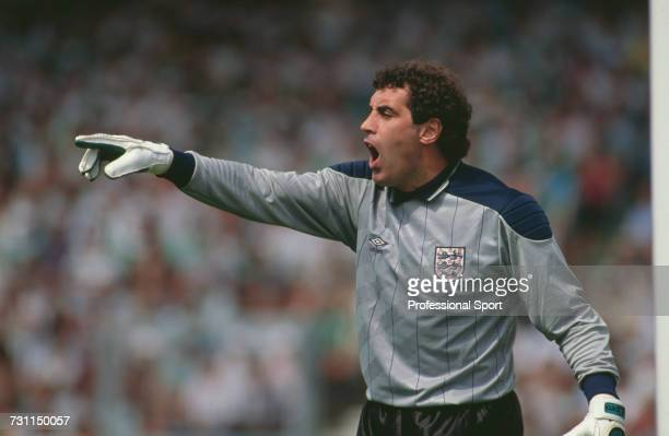 England goalkeeper Peter Shilton pictured shouting instructions during the group 2 match of the UEFA Euro 1988 Championship tournament between...