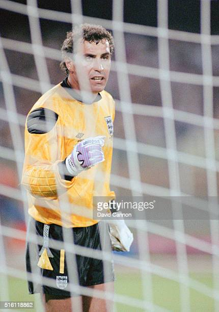 England goalkeeper Peter Shilton reacts during the FIFA 1990 World Cup match between England and Netherlands at Stadio Sant'Elia on June 16, 1990 in...