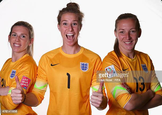 England goalkeepers Carley Telford Karen Bardsley and Siobhan Chamberain pose for fun during a FIFA Women's World Cup portrait session on June 6 2015...