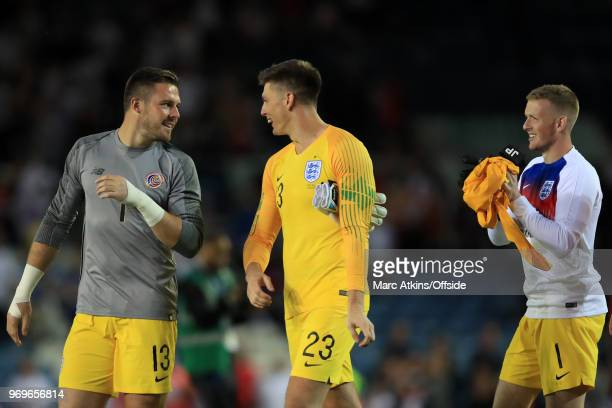 England goalkeepers Jack Butland Nick Pope and Jordan Pickford during the International Friendly match between England and Costa Rica at Elland Road...