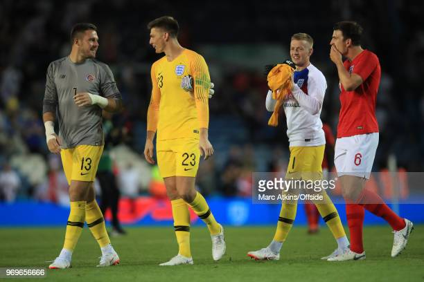 England goalkeepers Jack Butland Nick Pope and Jordan Pickford with Harry Maguire during the International Friendly match between England and Costa...