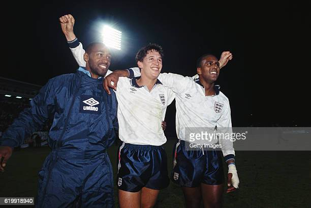 England goalscorer Gary Lineker celebrates with Andy Gray and David Rocastle after qualification for Euro 92' after the European Championships...