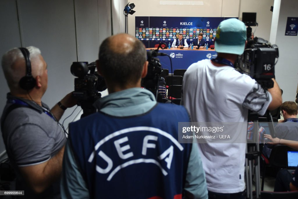 England head coach Aidan Boothroyd interviewed after their UEFA European Under-21 Championship 2017 match between England and Poland on June 22, 2017 in Kielce, Poland.