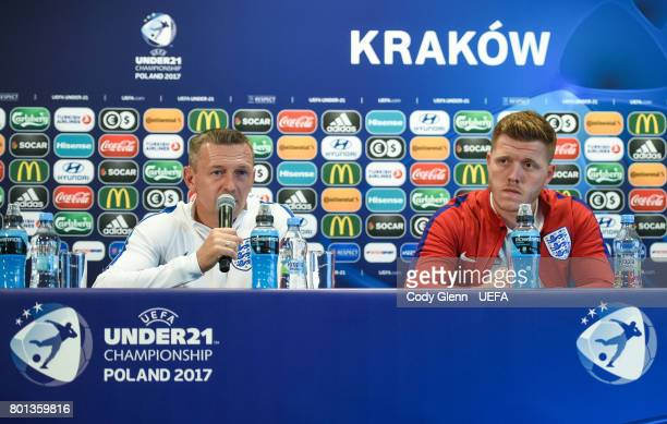 England head coach Aidy Boothroyd and Alfie Mawson during a press conference ahead of their UEFA European Under21 Championship semifinal match...