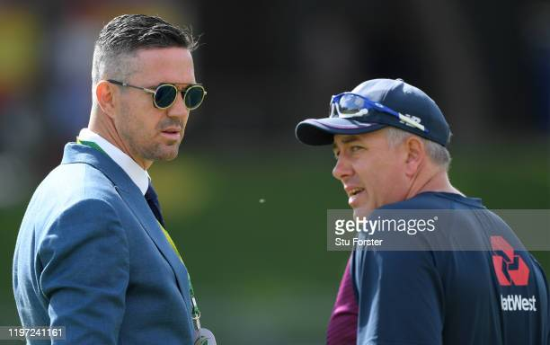 England head coach Chris Silverwood chats with ex England player Kevin Pietersen during Day One of the Second Test between England and South Africa...