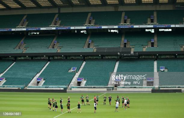 England Head Coach Eddie Jones and Claudia MacDonald member of the England Red Roses squad help out with coaching at the launch of Ready4Rugby the...