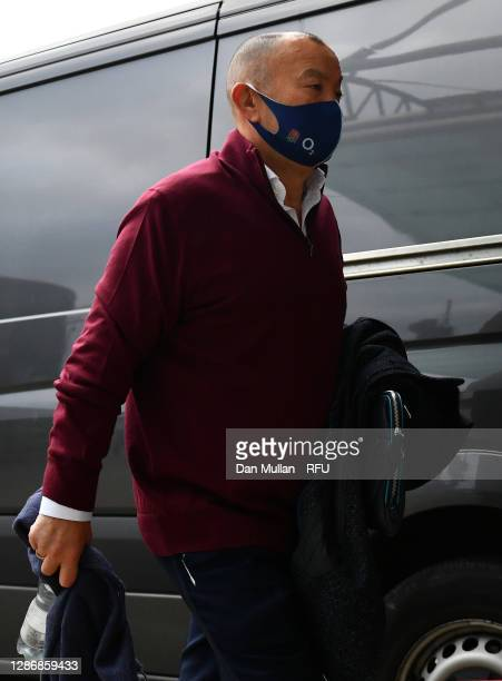England Head Coach, Eddie Jones arrives ahead of the England v Ireland Quilter International match, part of the Autumn Nations Cup at Twickenham...
