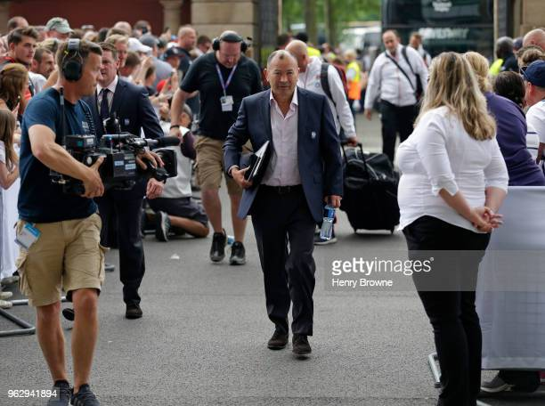 England head coach Eddie Jones arrives before the Quilter Cup match between England and Barbarians at Twickenham Stadium on May 27 2018 in London...