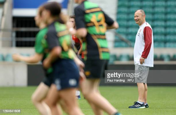 England Head Coach Eddie Jones coaches at the launch of Ready4Rugby the non contact return to community rugby at Twickenham Stadium on August 08 2020...
