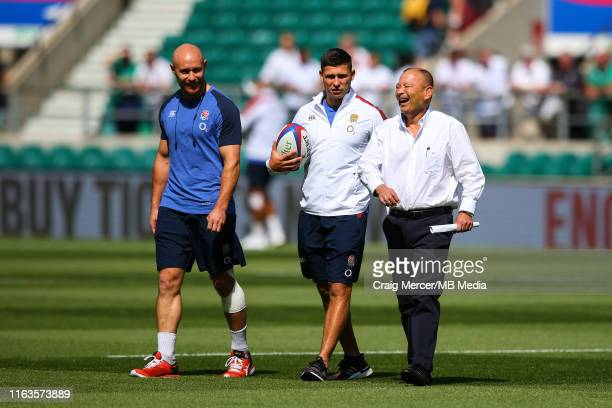 England Head Coach Eddie Jones enjoys a joke with Ben Youngs of England ahead of the 2019 Quilter International match between England and Ireland at...