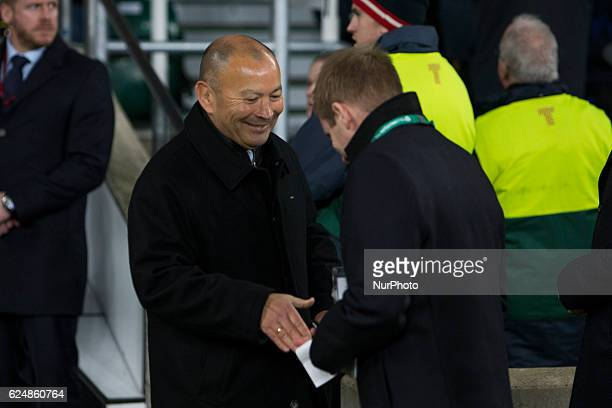 England Head Coach Eddie Jones is congratulated by a member of staff after the Old Mutual Wealth Series between England and Fiji played at Twickenham...