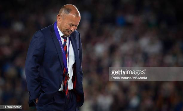 England head coach, Eddie Jones look on after defeat in the Rugby World Cup 2019 Final between England and South Africa at International Stadium...