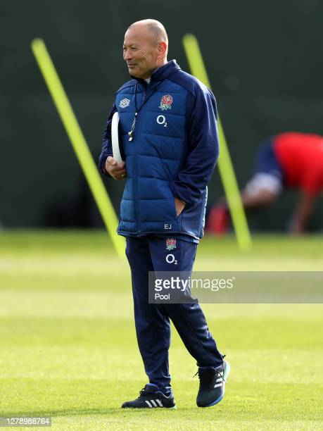 England Head Coach Eddie Jones looks on during a England Rugby Training session at The Lensbury on October 07 2020 in Teddington England