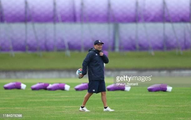 England head coach Eddie Jones looks on during a training session at Fuchu Asahi Football Park on October 29, 2019 in Fuchu, Tokyo, Japan.