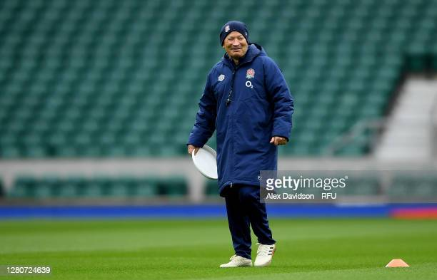 England Head Coach Eddie Jones looks on during an England rugby training session at Twickenham Stadium on October 17 2020 in London England