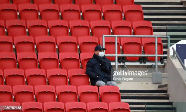 England Head Coach Eddie Jones looks on during the Heineken Champions Cup Final match between Exeter Chiefs and Racing 92 at Ashton Gate on October...