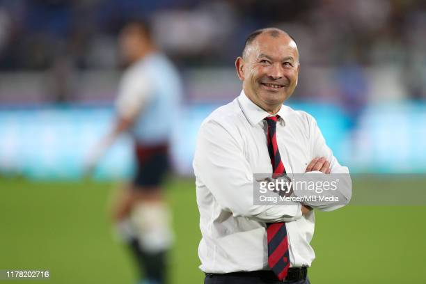 England Head Coach Eddie Jones looks on during the pre match warm up ahead of the Rugby World Cup 2019 Semi-Final match between England and New...