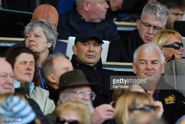 England head coach Eddie Jones looks on from the stands during the Gallagher Premiership Rugby match between Exeter Chiefs and Bath Rugby at Sandy...