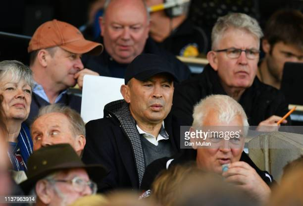 England head coach Eddie Jones looks on from the stands prior to the Gallagher Premiership Rugby match between Exeter Chiefs and Bath Rugby at Sandy...