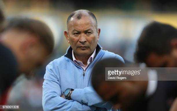 England head coach Eddie Jones looks on in the warm up during the second test match between South Africa and England at Toyota Stadium on June 16...