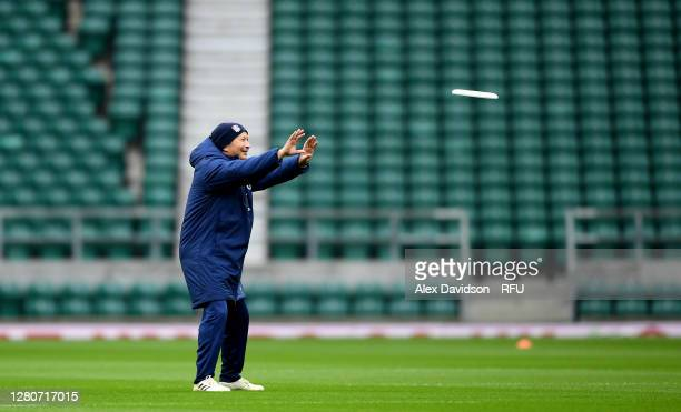 England Head Coach Eddie Jones plays frisbee during an England rugby training session at Twickenham Stadium on October 17 2020 in London England