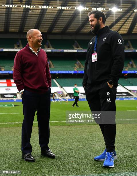 England Head Coach Eddie Jones speaks to Ireland Head Coach Andy Farrell prior to the England v Ireland Quilter International match, part of the...