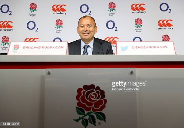 England head coach Eddie Jones speaks to the media during an England Rugby press conference at Twickenham Stadium on September 30 2016 in Twickenham...