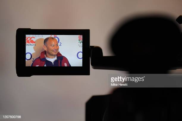 England Head Coach, Eddie Jones talks during a press conference at Pennyhill Park on February 20, 2020 in Bagshot, England.
