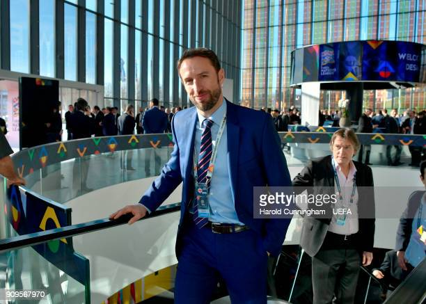 England head coach Gareth Southgate arrives for the UEFA Nations League Draw on January 24 2018 in Lausanne Switzerland
