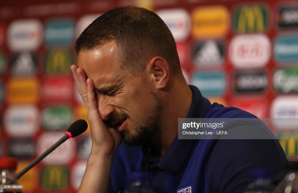 England Head Coach Mark Sampson speaks to the media at a press conference following the UEFA Women's Euro 2017 Semi Final match between Netherlands and England at De Grolsch Veste Stadium on August 3, 2017 in Enschede, Netherlands.