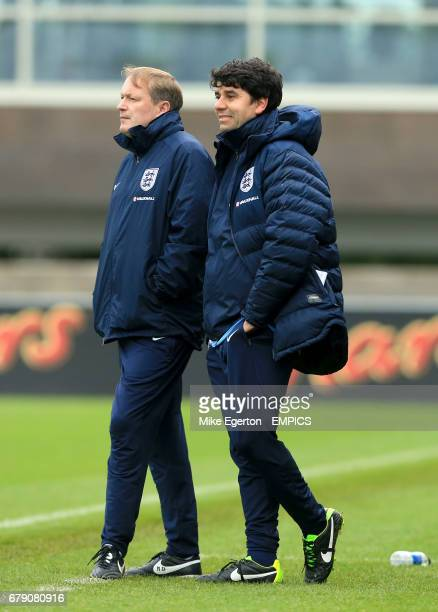 England head coach Neil Dewsnip with assistant Dan Micciche