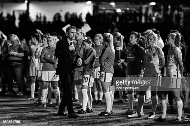 England head coach Phil Neville looks on after the SheBelieves Cup match between USA and England on March 07 at Orlando City Stadium in Orlando...