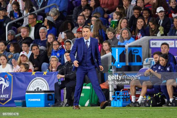 England head coach Phil Neville reacts after a play during the SheBelieves Cup match between USA and England on March 07 at Orlando City Stadium in...