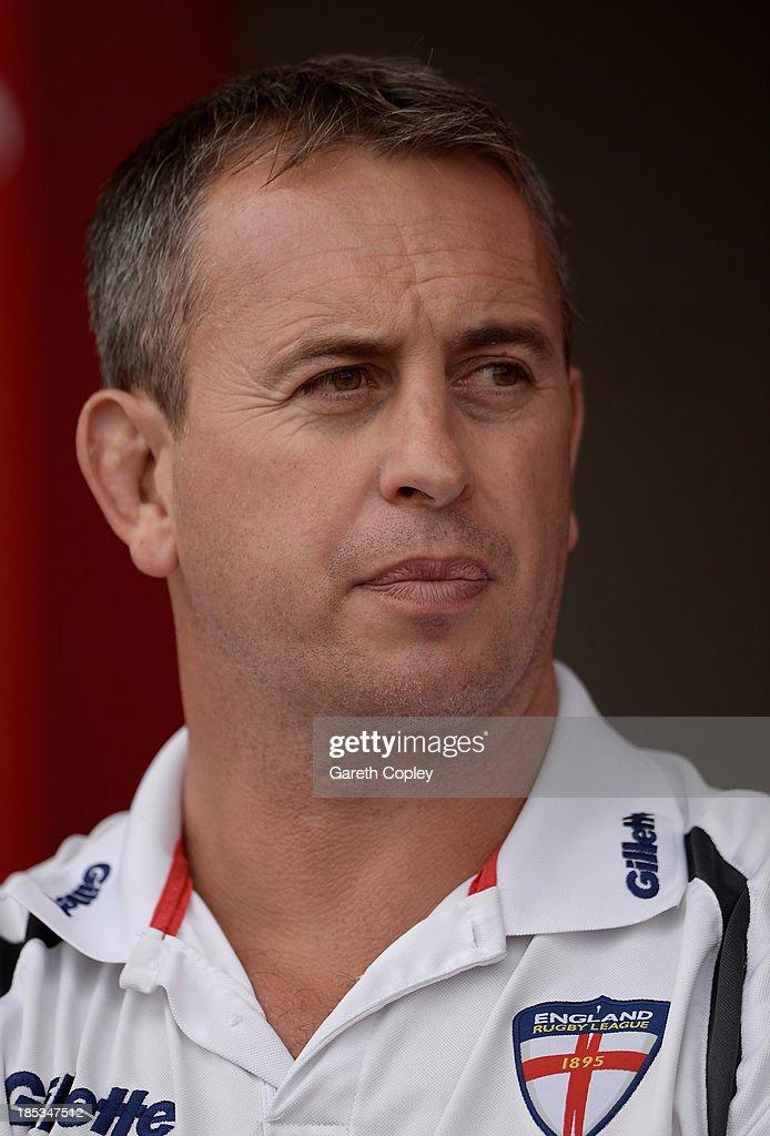 England head coach Steve McNamara watches the International match between England Knights and Samoa at Salford City Stadium on October 19, 2013 in Salford, England.