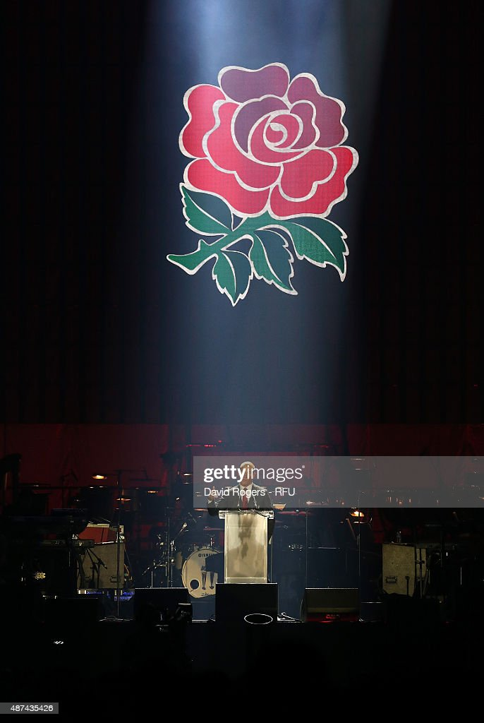 England head coach Stuart Lancaster, addresses the crowd during the Wear The Rose Live official England send off event hosted by 02 at The O2 Arena on September 9, 2015 in London, England. The Event saw over 14,500 England fans showing their support for the team.
