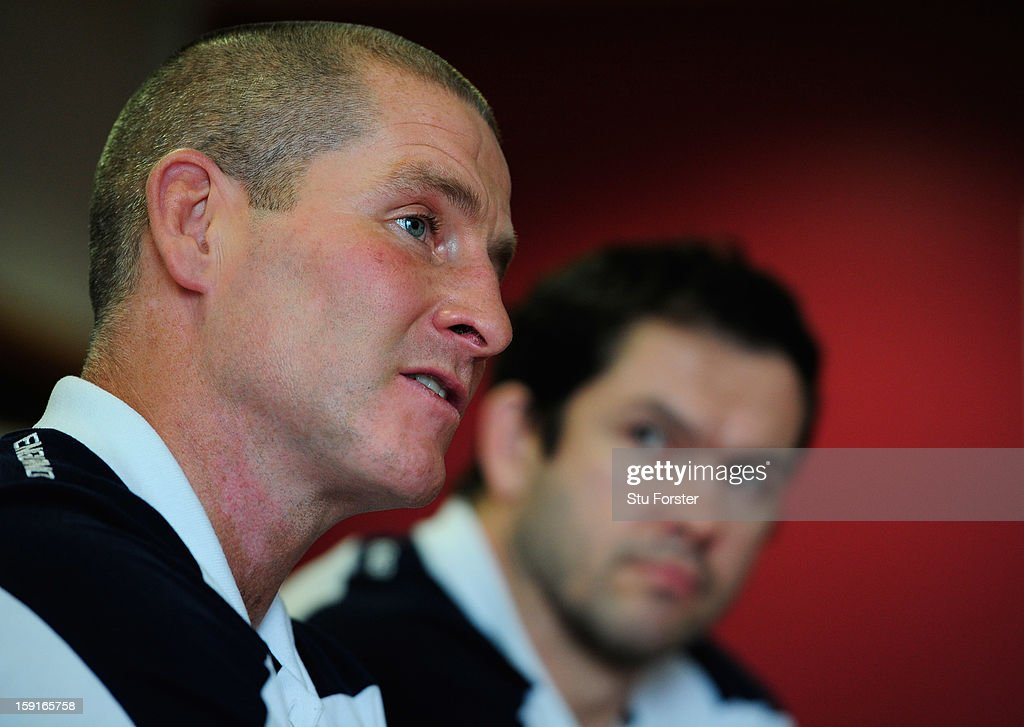 England head coach Stuart Lancaster (l) and assistants coach Andy Farrell faces the press during the England Rugby Union Senior and Saxons Elite Player Squads Announcement at West Park RUFC on January 9, 2013 in Leeds, England.