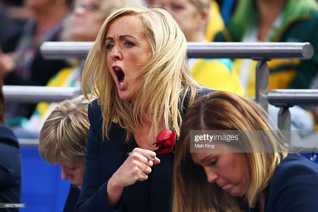 England head coach Tracey Neville reacts during the 2015 Netball World Cup match between England and Jamaica at Allphones Arena on August 8, 2015 in Sydney, Australia.