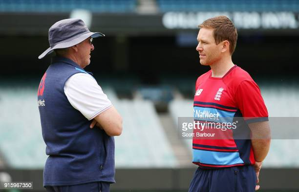 England Head Coach Trevor Bayliss and captain Eoin Morgan talk during the England Twenty20 nets session at Melbourne Cricket Ground on February 9...