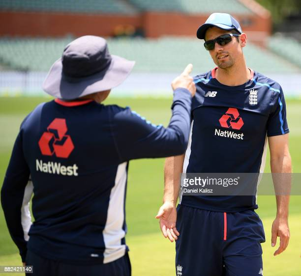 England Head Coach Trevor Bayliss chats with Alastair Cook of England prior to an England Nets Session at Adelaide Oval on November 30 2017 in...